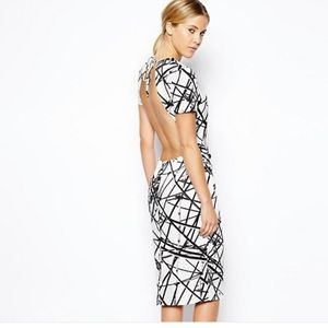 ASOS Scaffold Black White Open Back Dress size 8